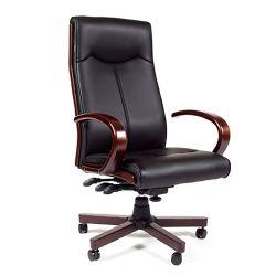 Кресло кожаное для руководителя  CHAIRMAN 411 черное