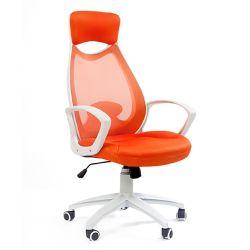 Кресло для руководителя CHAIRMAN CH 840 white оранжевое