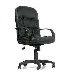 Кресло руководительское черное CHAIRMAN CH 416 кожа глянцевая