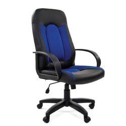 Кресло руководителя CHAIRMAN 429 экокожа, ткань, синее