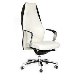 Кресло кожаное CHAIRMAN Basic белое/черное
