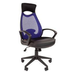 Кресло руководителя CHAIRMAN CH 840 black синее