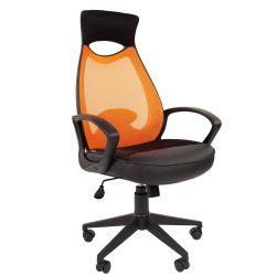 Кресло руководителя CHAIRMAN CH 840 black оранжевое