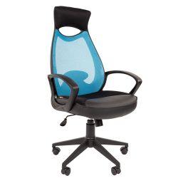 Кресло руководителяCHAIRMAN CH 840 black голубое