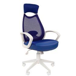 Кресло для руководителя CHAIRMAN CH 840 white синее
