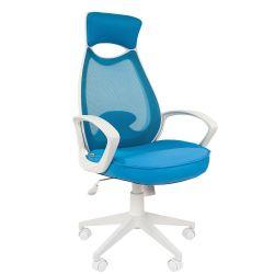 Кресло для руководителя CHAIRMAN CH 840 white голубое